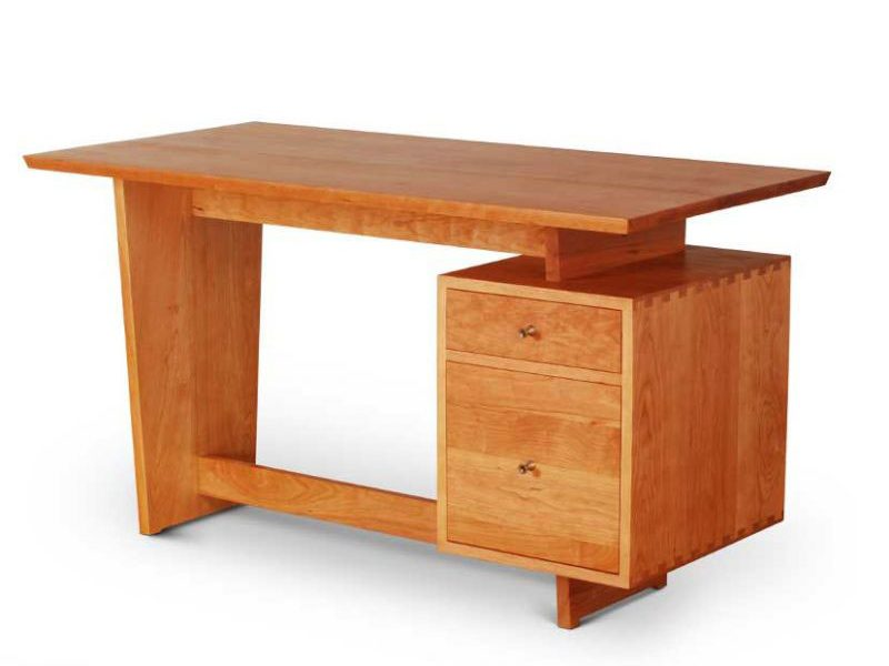 Single Pedestal Devoe Desk in cherry