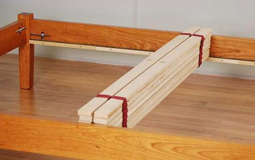 Bed slats on frame