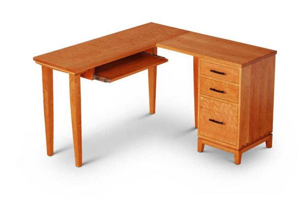 Corner Desk in cherry - drawer pedestal on right