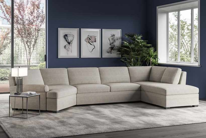 American Leather Gaines Sectional Closed