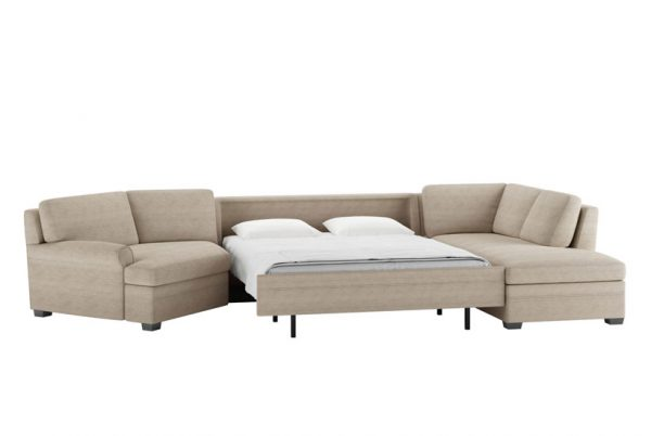 Gaines Queen Comfort Sleeper Sectional Sunbrella Pique Sand Fabric with Espresso Finish Legs