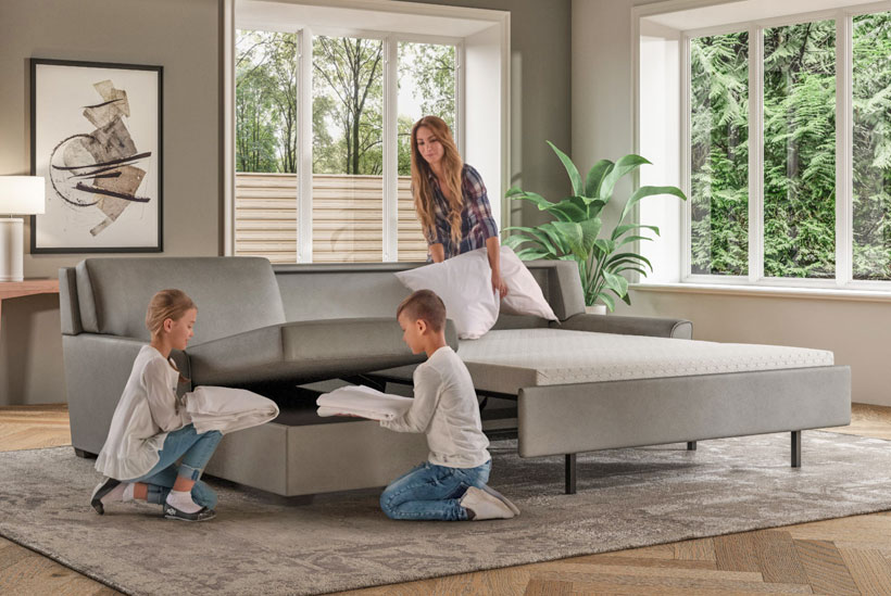 Klein Queen Plus Comfort Sleeper and Storage Chaise Sectional Dolce Gray Leather with Espresso Finish Legs
