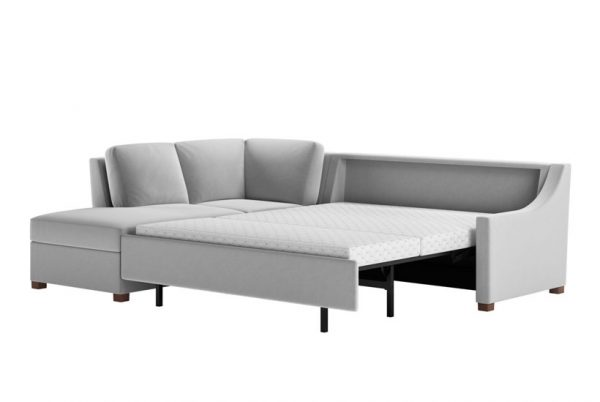 Perry Queen Comfort Sleeper Sectional Suede Life Dove Gray Fabric with Acorn Finish Legs