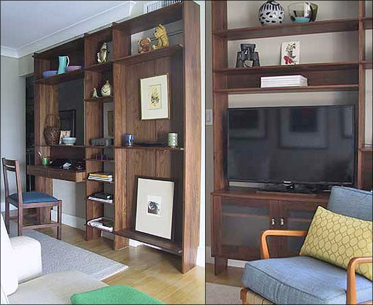 Walnut Wall Unit Bookcase Crafted for a Beach Apartment