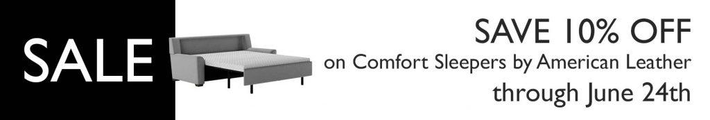 Scott Jordan 10-percent-off on American Leather Comfort Sleepers till June 2019