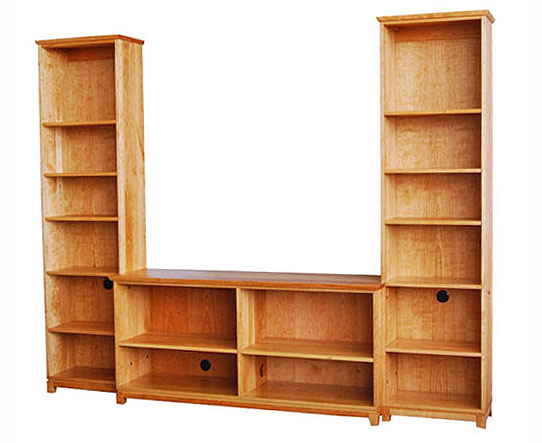 Bookcase flanking center TV case