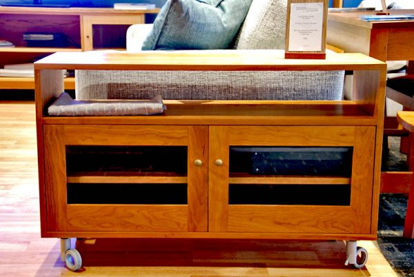 Rolling TV cabinet front
