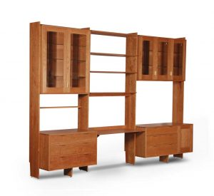 Wall Unit With Central Desk and flanking cabinets